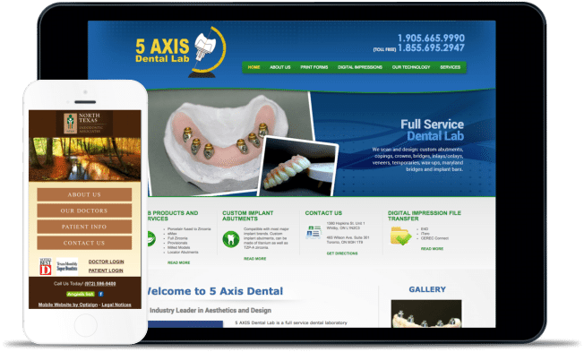 dental lab website design example
