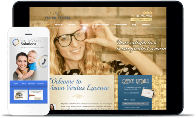 Screenshot of two eye care websites one on iphone and one on ipad
