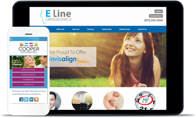 Orthodontic website screenshot with mobile version