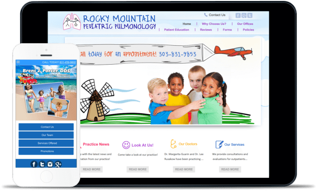 WEB DESIGN For Pediatricians & Pediatric Dentists EXAMPLE