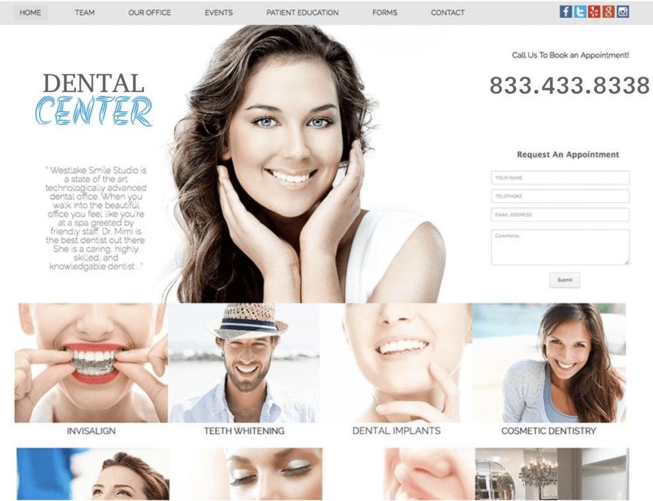 white clean west lake dental website