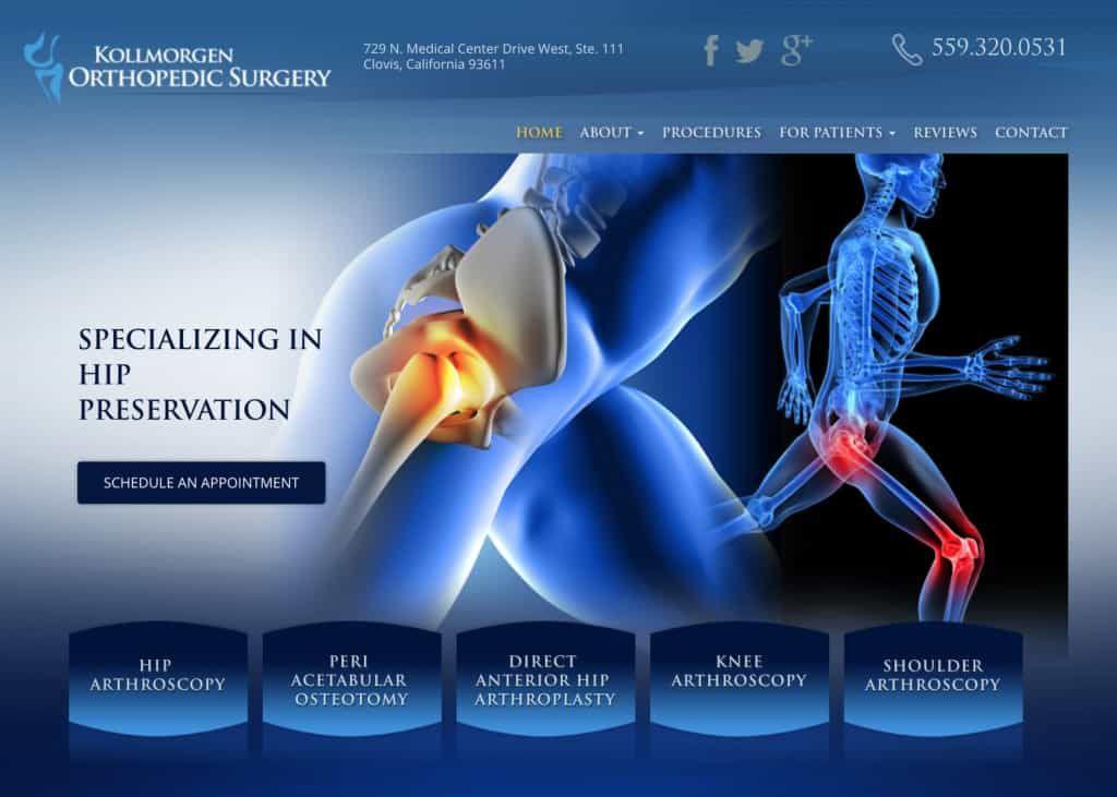 Kollmorgen Orthopedic Website Screenshot