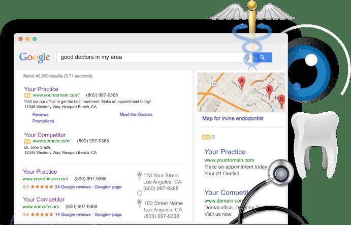 marketing page header google screenshot of dental marketing result