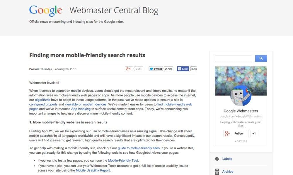 Screenshot of Google mobile website announcement