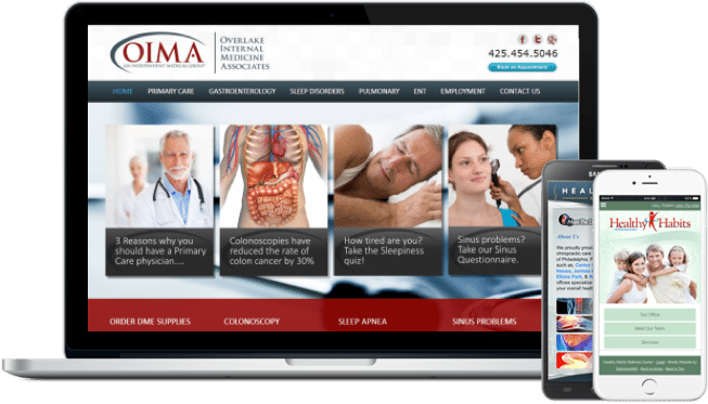 Medical website example on laptop and two iphones. Three practices shown