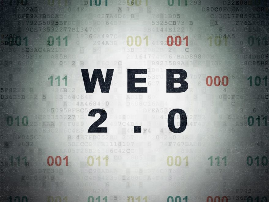 Web development concept: Painted black text Web 2.0 on Digital Paper background with Binary Code