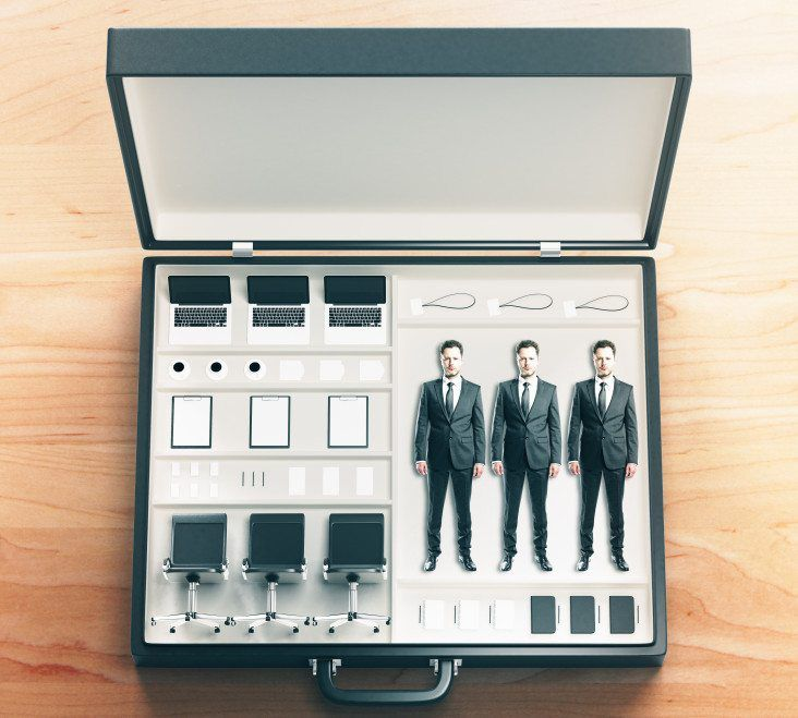 Suit case of 3 cookie cutter businessmen kit, completed with 3 sets of office chairs, laptops, coffee and other items.