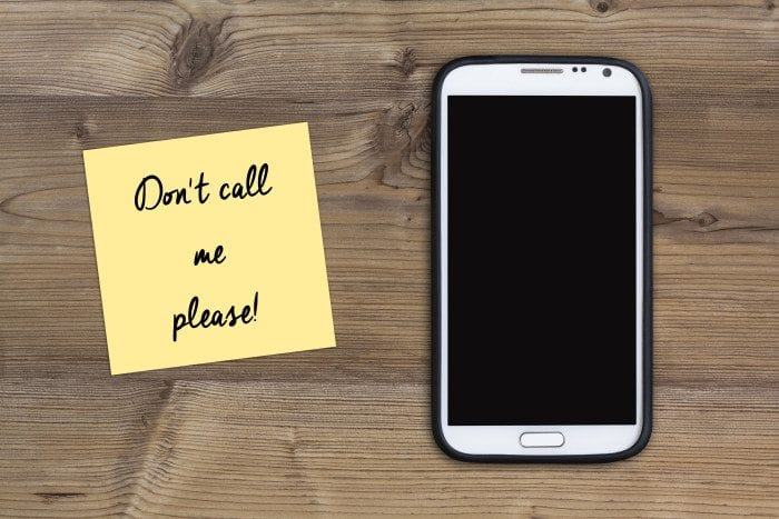 "Phone with "" Don't call me please!"" Post-it note"