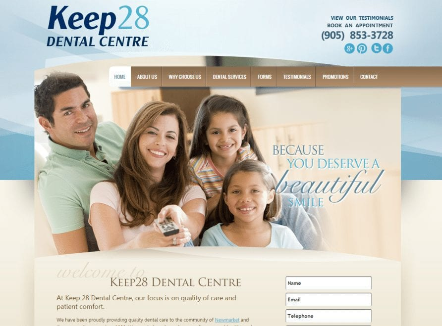 Keep28dental website designed by Optimized360