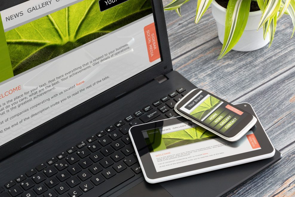Mobile responsive website across laptop, tablet and smartphone.