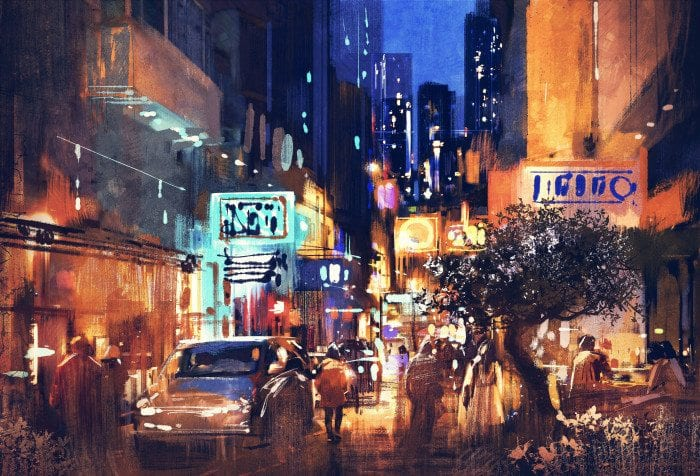 a painting of a city at night.