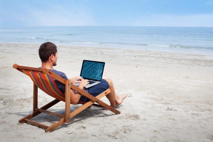 A man banking on a beach