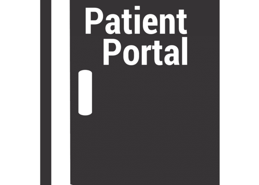 "a door with the word ""patient portal"" on."