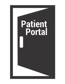 """a door with the word """"patient portal"""" on."""