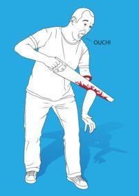 a man saws off his own arm