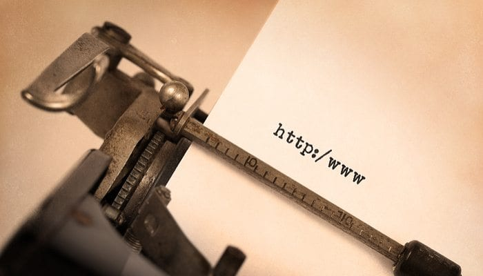 Old Type Writer with URL to represent outdated website