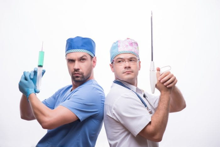 two doctors back to back