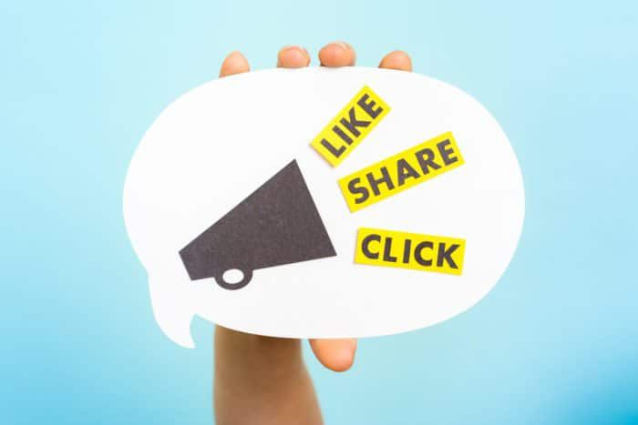 Comment Bubble saying like, share, click, for social media