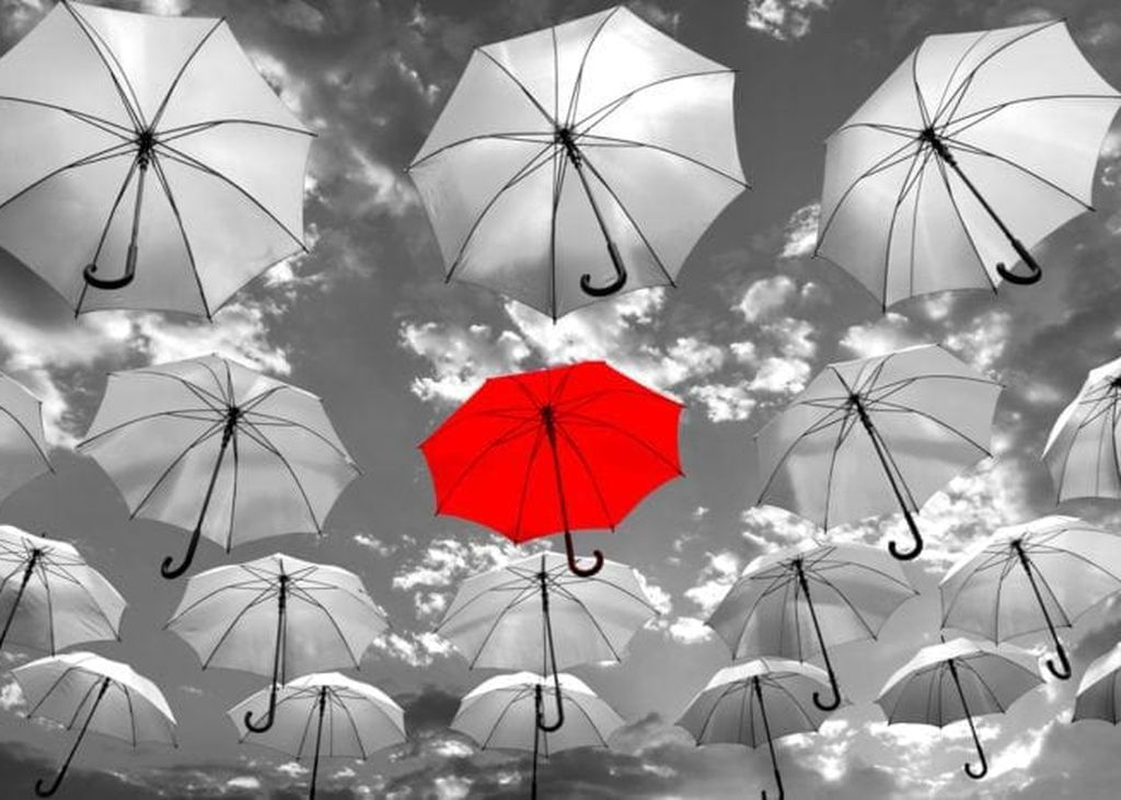 1 Red Umbrella in the middle of many grey umbrellas, standing out from the rest. showing importance of standing out online.