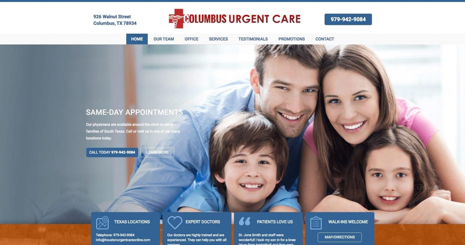 Medical Website Design for Urgent Care
