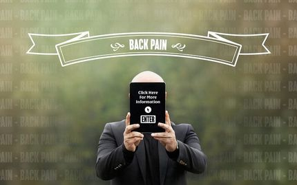 Man holding enter sign for back pain