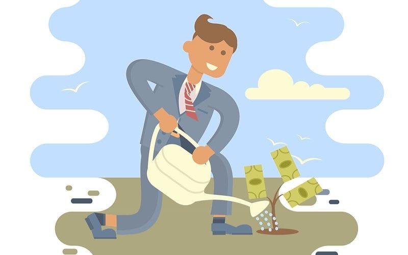 Guy watering a money tree