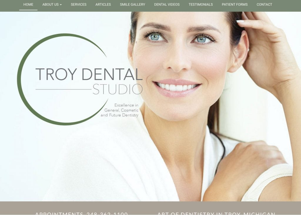 Troy Dental Studio Website Screenshot