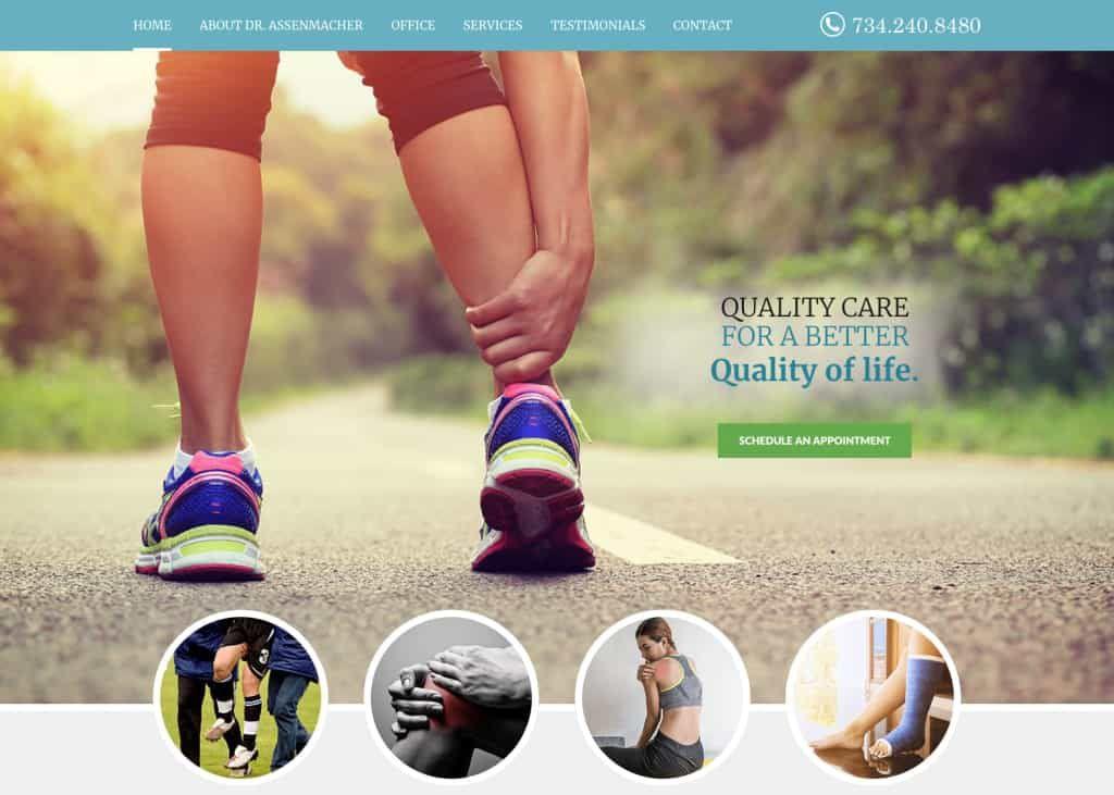Assenmacher Orthopedics Website Screenshot
