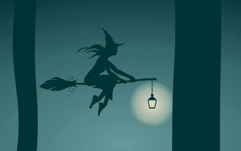 Illustration of a Witch flying on a broomstick