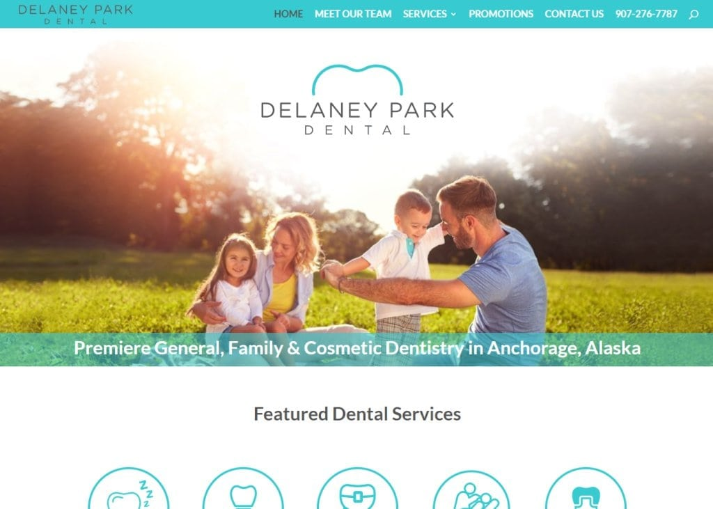 delaneyparkdental.com screenshot - Showing homepage of Delaney Park Dental - Anchorage Dentist - Dr. Todd Miles website