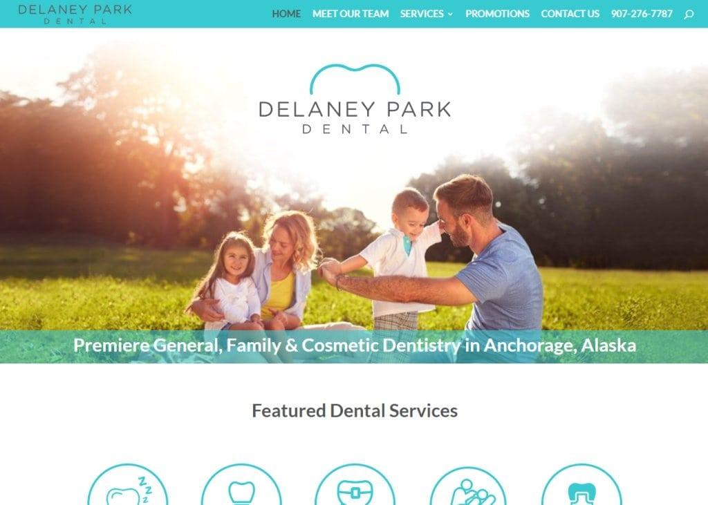 delaneyparkdental.com screenshot - Showing homepage of Delaney Park Dental - Anchorage Dentist - Dr. Todd Miles website