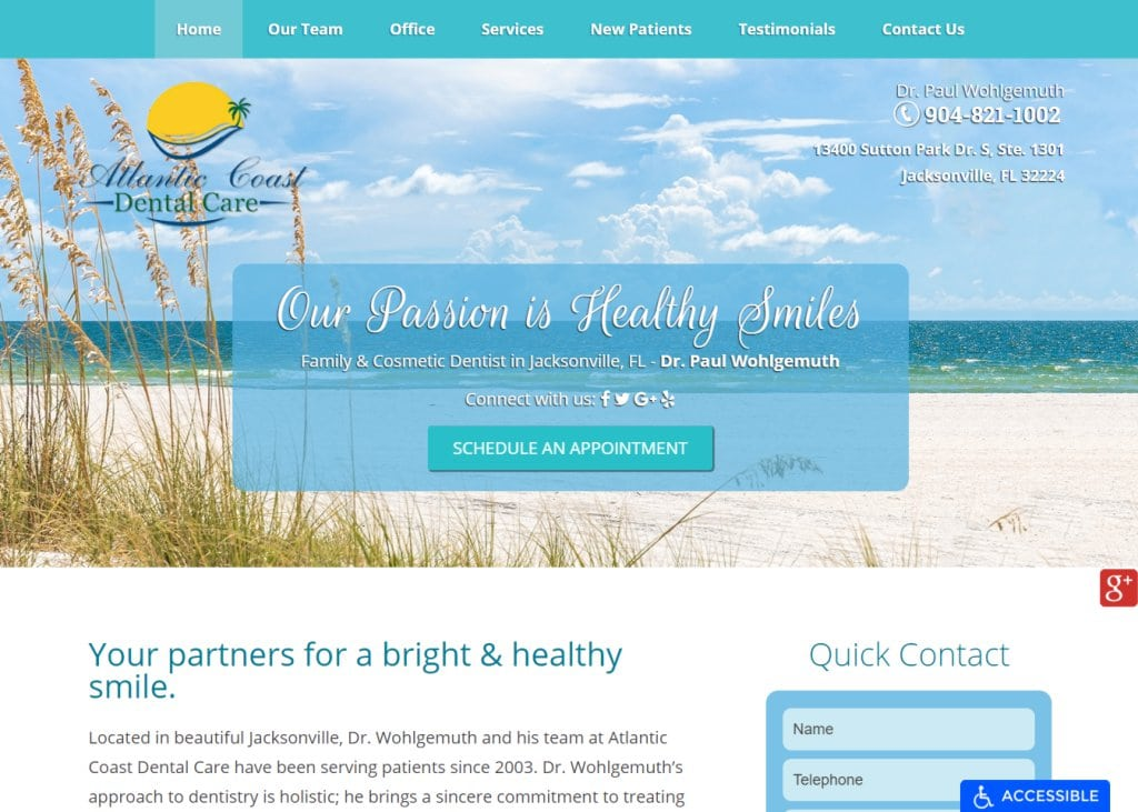 acdentalcare.com screenshot - Showing homepage of Jacksonville Dentist -Atlantic Coast Dental Care - Dr. Paul Wohlgemuth website