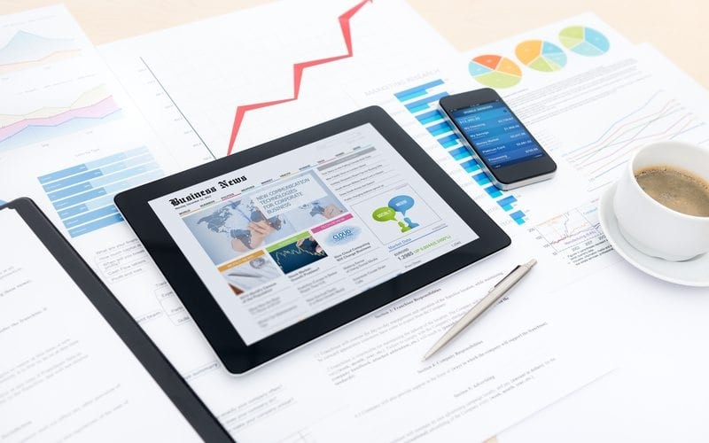 marketing metrics displayed on devices and paper
