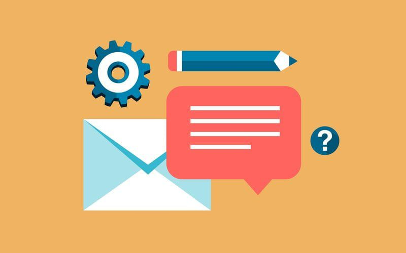 Vector image of comment bubble, envelope, pencil and cogwheel icons
