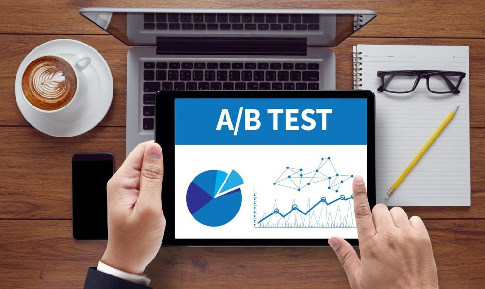 Professional looking at A/B testing on Ipad