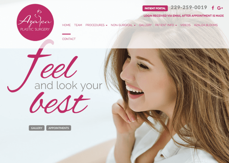 Plastic Surgery website designed by optimized360