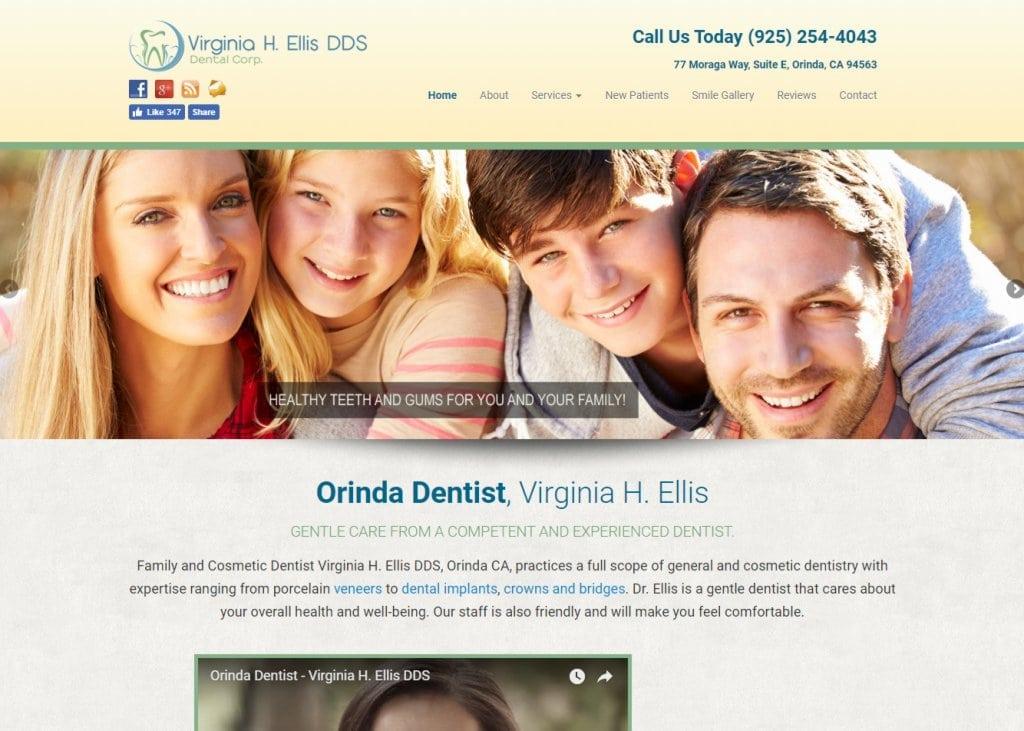 Screenshot showing homepage of Family and Cosmetic Dentist Virginia H. Ellis DDS, Orinda CA website