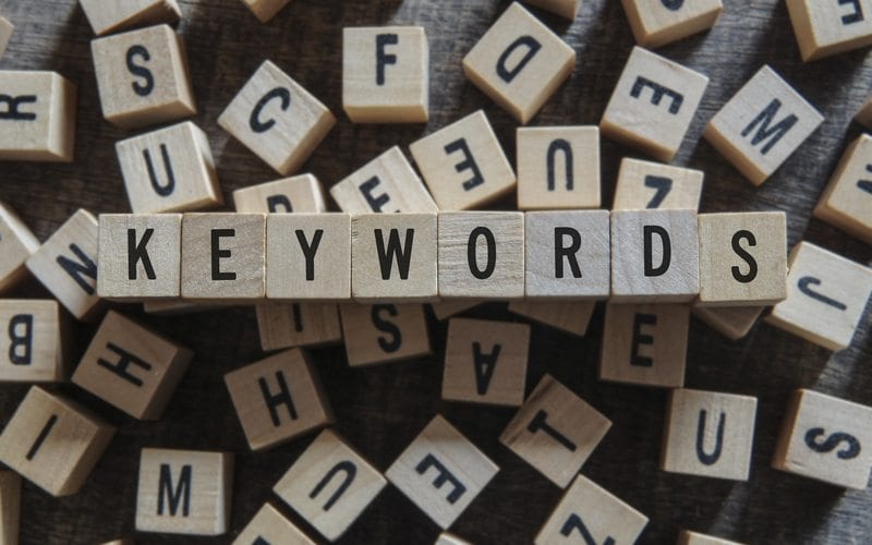 """Keyword"" spelled out within a pile of building blocks"