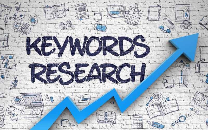 Words KEyword Research surrounded by various icons