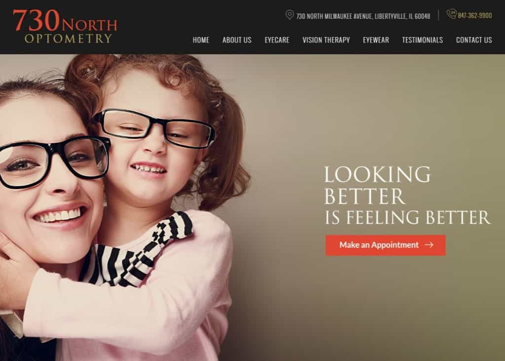 730 North Optometry Website Screenshot