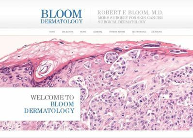 Bloom Dermatology Website Screenshot