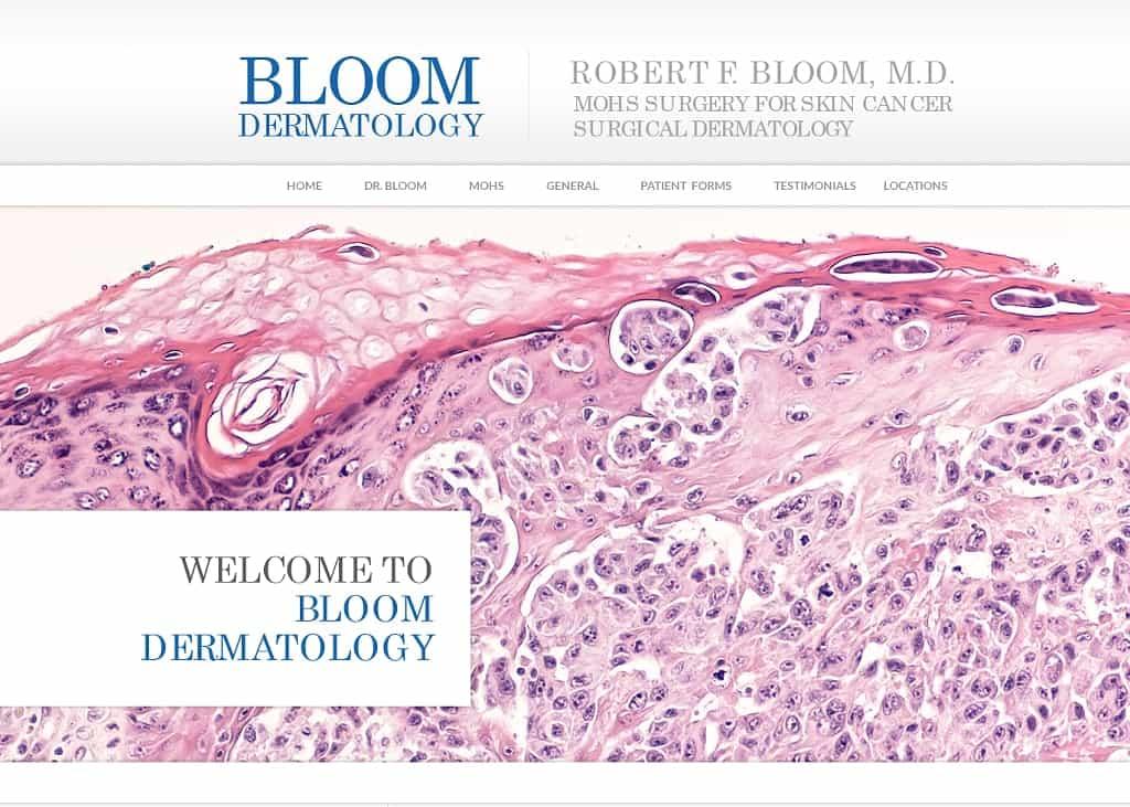Bloom Dermatology Website Screenshot