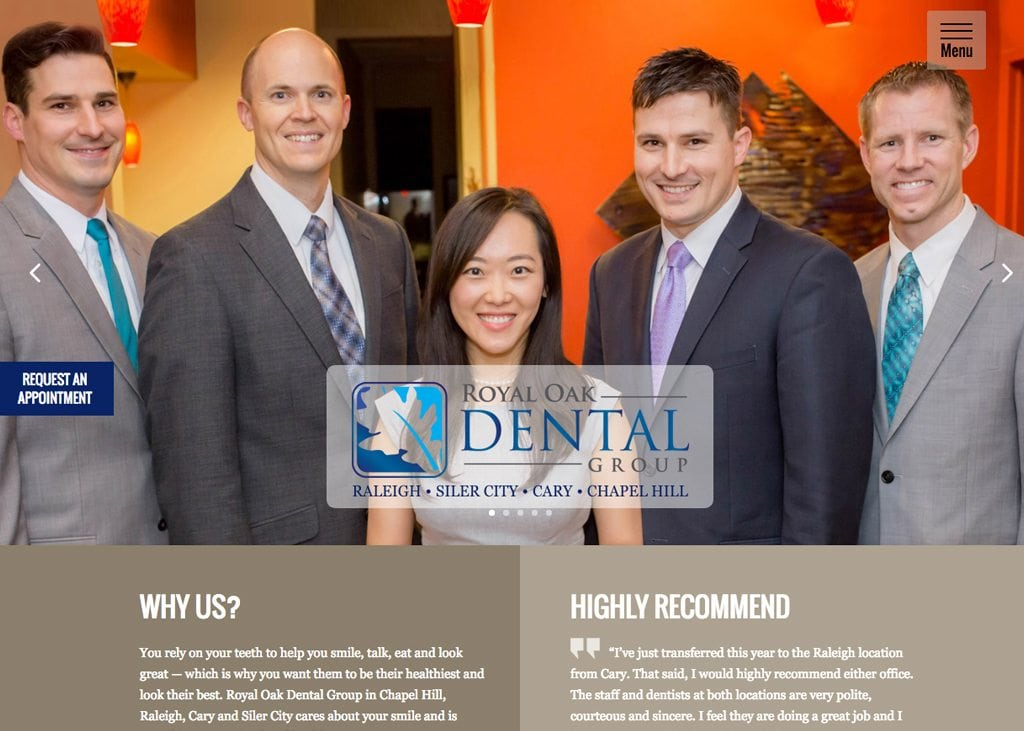 Close up screenshot of Royal Oak Dental Group website with four male and one female dentist in the middle in an office with brown and yellow walls and background.
