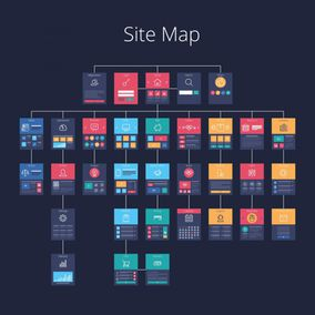 Vector illustration of various site pages laid out in a sitemap