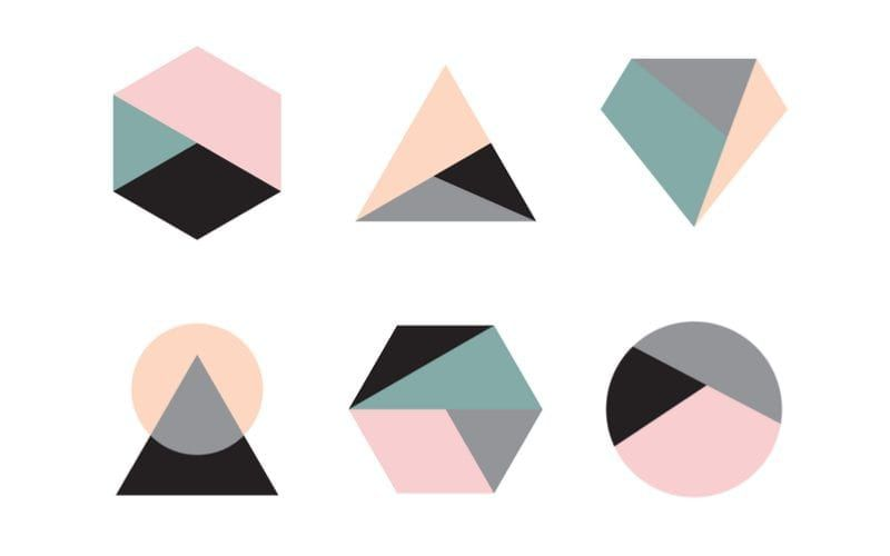 Various shapes combined and displayed on paper