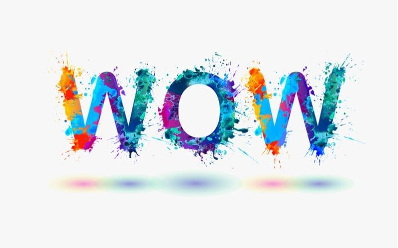 """Word 'Wow"""" displayed using various colors"""
