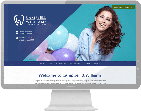 a colorful website showing a smiling woman with balloons
