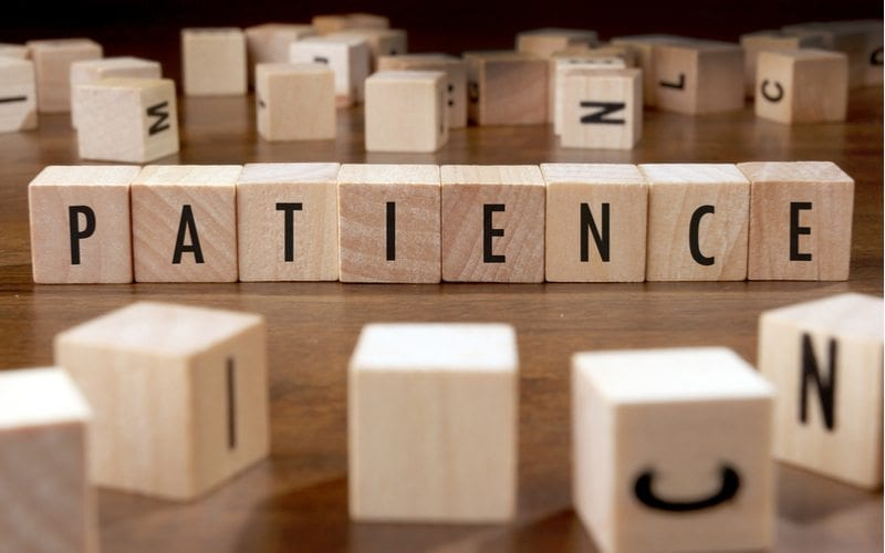 blocks that spell out patience