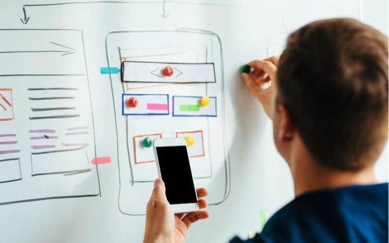person designing responsive website