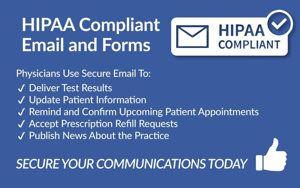 HIPAA email and form infographics with detailed stats